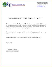 Certificate Of Employment Letter Filename Emergency Essentials Hq