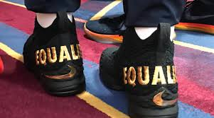 lebron james shoes 2017. lebron james wears \u0027equality\u0027 shoes, cavs link arms during anthem on opening night lebron shoes 2017 1
