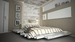 interior: Fabulous Floating Styled Pallet Bed Ideas Which Is Decorated With  Stripes Bedspread And Enlightened