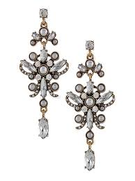 pearl and crystal vintage style chandelier earrings