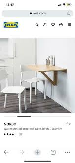ikea norbo drop leaf wall table brand