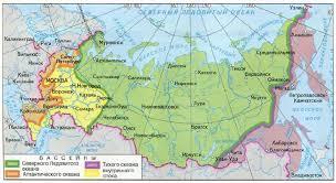 Речная сеть России География Реферат доклад сообщение кратко  Рис 130 Распределение речной сети по бассейнам