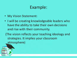 my vision statement sample teachers needs in the first school week