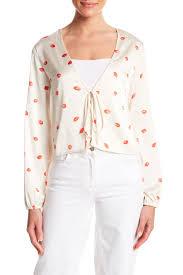 Honey Punch Kiss Print Front Tie Blouse Nordstrom Rack