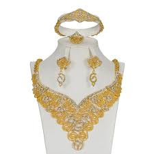 Gold Set Design Dubai Mukun Wedding Gold Plated Jewelry Sets For Women Necklace Earrings Bracelet Ring Crystal Accessories Dubai Gold Bridal Jewelry Set