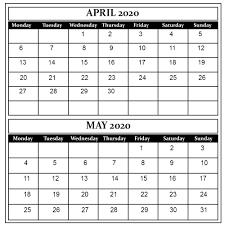 April May 2020 Calendar Printable April And May 2020 Free Printable Calendar
