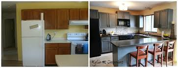 paint kitchen cabinets before and afterpainted oak kitchen cabinets chelsea gray before and after