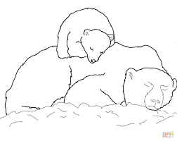 Small Picture Polar Bears Coloring Pages Polar Bear Cub Sleeping On Mothers Back