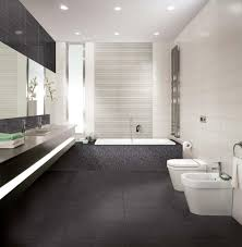 bathroom: Bright Bathroom With Pretty Black Accents Tiles Flooring Plus  Fascinating Twin Toilets And Entrancing