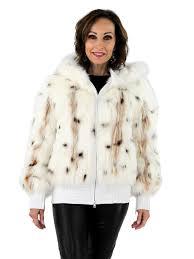 woman s white spotted fox fur zipper jacket with white velvet lined hood