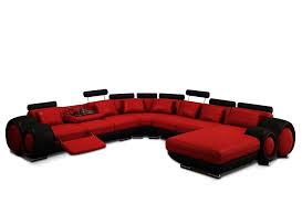 modern red and black bonded leather sectional astra