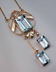 art deco aquamarine jewelry vintage aquamarine pendant necklace