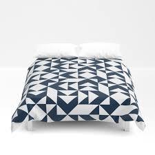 navy blue geometric pattern duvet cover