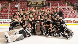 macinnes cup after defeating the michigan tech huskies in overtime 1 0 in the chionship game of the 52nd annual great lakes invitational on friday