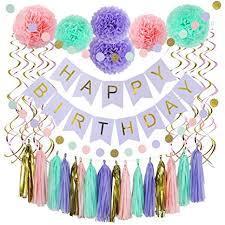 Purple Happy Birthday Banner Amazon Com 37 Piece Happy Birthday Banner Party Decorations Set In