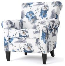 Blue Patterned Chair Mesmerizing Manon Blue White Floral Print Fabric Club Chair Midcentury