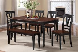 Cherry Wood Kitchen Table Sets Poundex 6 Pcs Rectangular Dining Table Set With Dining Bench F2386 S6