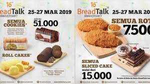 Promo Anniversary Breadtalk Berlaku Hingga 27 Maret 2019 Semua