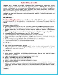 Billing Clerk Job Description For Resume Medical Billing And Coding Specialist Resume Example Examples 36