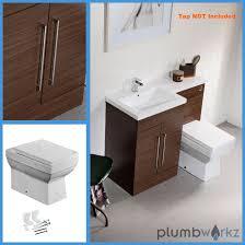 Bathroom Suites Ebay L Shape Walnut Amp Oak Bathroom Furniture Suite Basin Btw Toilet