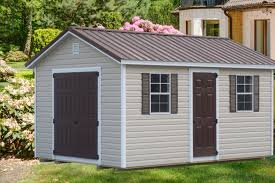 Stylish Sheds Ranch Style Shed With Vinyl Siding And Brown Roof Vinyl Sheds