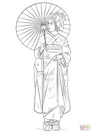Small Picture Japanese girl in traditional dress coloring page Free Printable