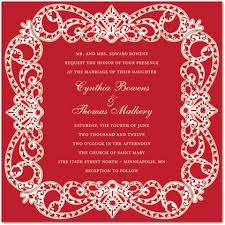 Elegant Vine Frame Red Formal Wedding Invitations Stationery