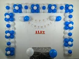 blue white balloon decoration for