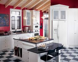 Ge Profile Kitchen With Red Walls White Cabinets And White