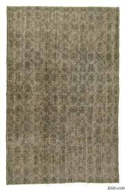 green over dyed turkish vintage rug 6 7 x 10