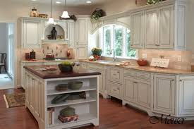 Ravishing White Wooden Kitchen Island With Opened Storage Shelves As Well  As Double Hanging Kitchen Lamps Also White Cabinets In Modern French Country  ...