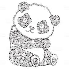 Cute Panda Adult Antistress Coloring Book Page Black And White Hand
