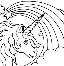 Stelle Arcobaleno E Unicorno Immagine Da Colorare Per I