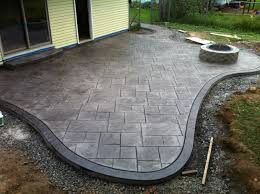 Interesting Stamped Concrete Patio With Square Fire Pit And Large Ashlar Pattern Beautiful Design