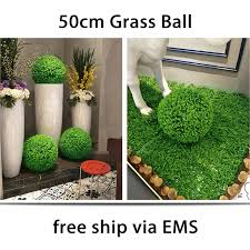 New 2pcs 50cm Artificial Eucalyptus Grass Topiary flower Ball Out