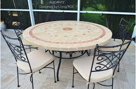 close 125 160cm garden mosaic round table natural stone top alicante