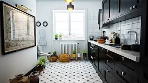 Black And White Tile Floor Kitchen Carpet Flooring Ideas