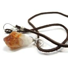 citrine crystal point sterling silver pendant on leather cord night sky jewelry