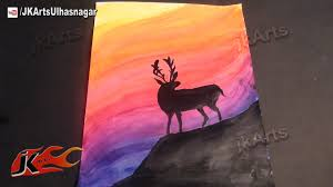 deer silhouette sunset printing how to acrylic painting jk arts 594 you