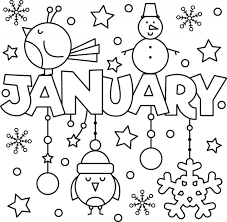 Winter Kleurplaat Uniek Happy New Year January Colouring Page