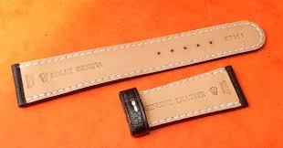 original black leather bracelet strap signed rolex 21 mm
