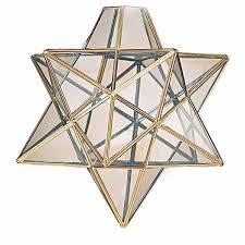 moravian star glass pendant light brass