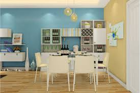 Dining room decorated in blue and yellow walls