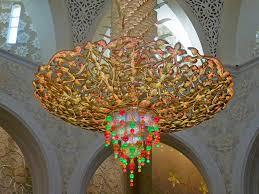 sheikh zayed grand mosque abu dhabi uae magnificent chandelier close shot