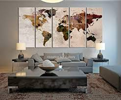 Office wall prints Display Funy Decor Large Canvas Print Rustic World Map Large Wall Art Extra Large Vintage Amazoncom Amazoncom Funy Decor Large Canvas Print Rustic World Map Large