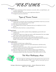 ... Types Of Resume 10 Types Of Resume Formats The 3 Main Resumes Samples  Sample ...