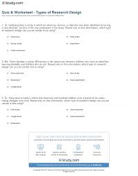 Research Design Worksheet Psychology Quiz Worksheet Types Of Research Design Study Com
