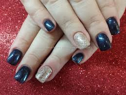 Eye Candy Nails & Training - Navy blue and silver glitter gel ...