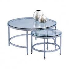 Two Nesting Metal And Glass Coffee Tables. Product: Small And
