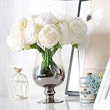 5 heads peony for christmas decoration flower artificial silk peonies wedding home new year party fake